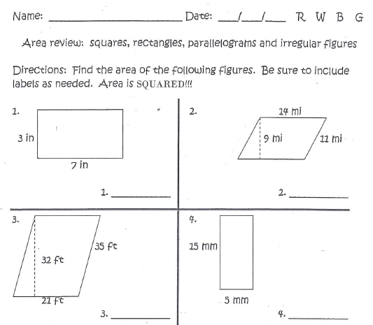 Miss Kahrimaniss Blog Irregular Figures – Area of Parallelograms Worksheet