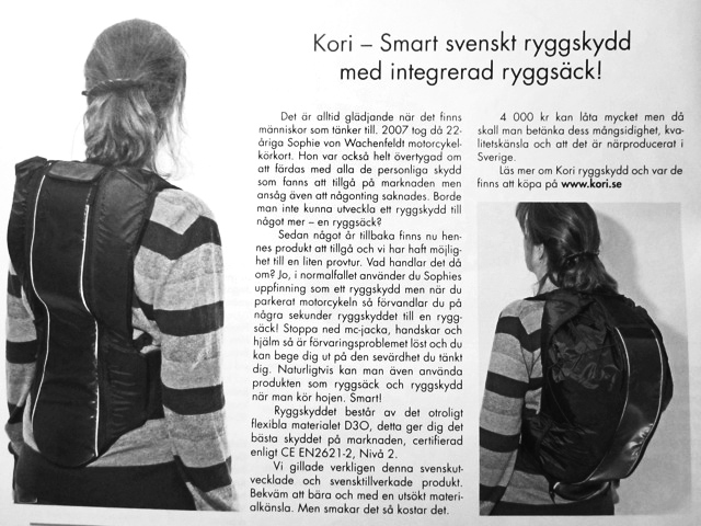 Kori - smart Swedish back protector with integrated backpack