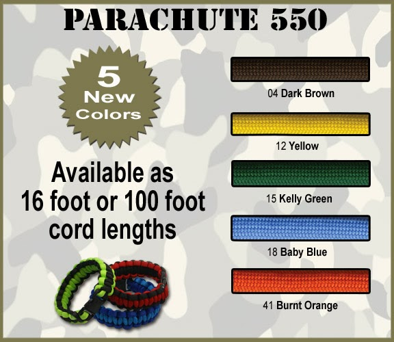 5 new 550 Parachute Cord colors available now!