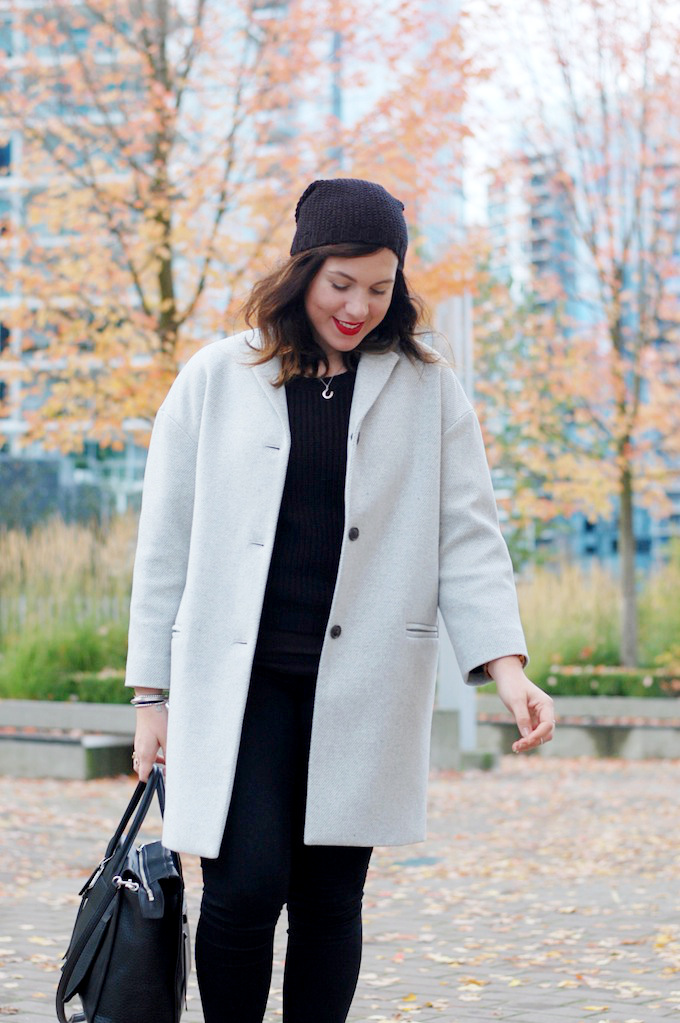 Gap drop shoulder wool coat blogger Vancouver