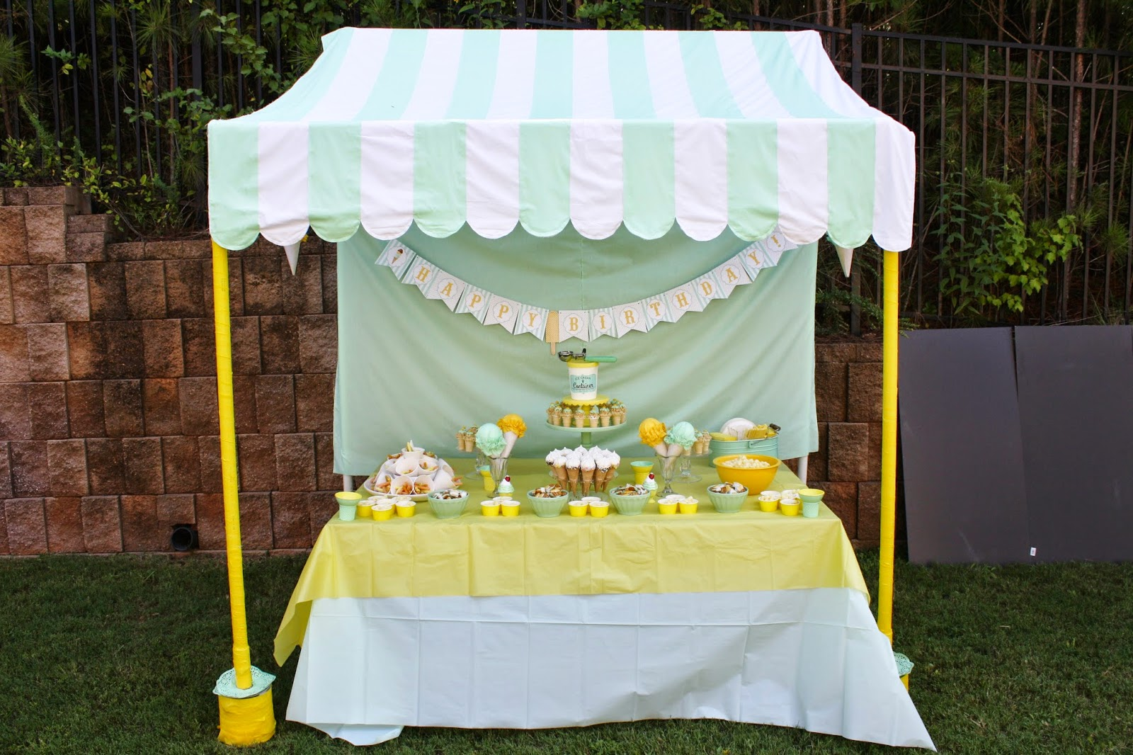 Ice Cream Party Dessert Table with Canopy & Miss Party Mom:  Miss Party Momu0027s  How-To PVC Canopy Tutorial