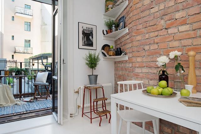 pared cocina de ladrillo visto