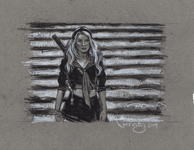 Emily Browning, Sucker Punch, Artwork is Copyright © 2014 Jeff Lafferty