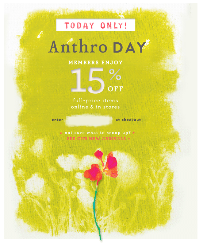 Anthropologie coupon codes