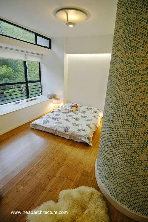 Dormitorio de una apartamento reformado en Hong Kong