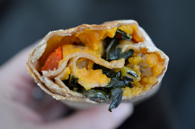 Scissors and Spice: Sweet Potato, Chickpea, & Kale Samosa Wrap (Vegan)