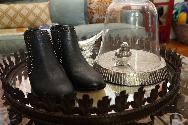 Material Girl gold studded flat sand boots