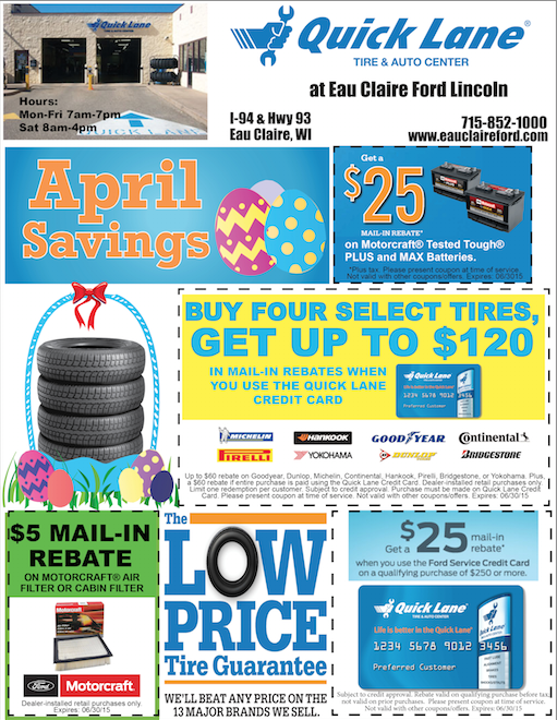 Eau claire ford lincoln quick lane nice news april for Ford motor service coupons