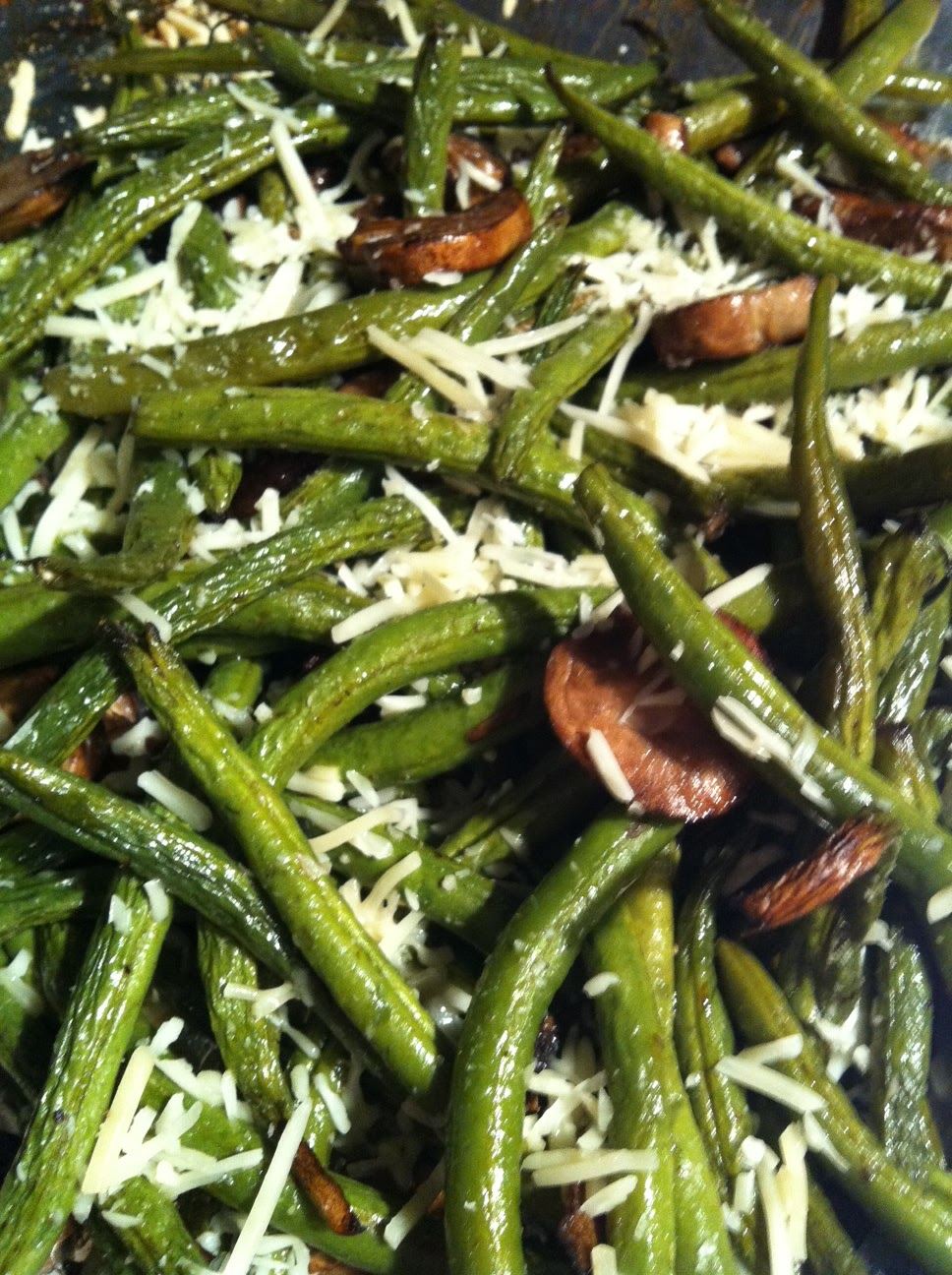 Pretty Penny: Balsamic Roasted Green Beans, Mushrooms and Parmesan