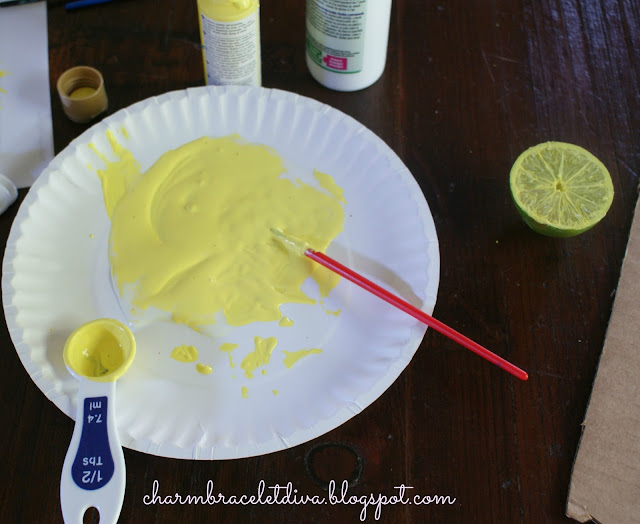 paint and textile fabric medium mixture for citrus stamped tea towels