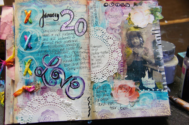 art journal love page techniques linda peterson