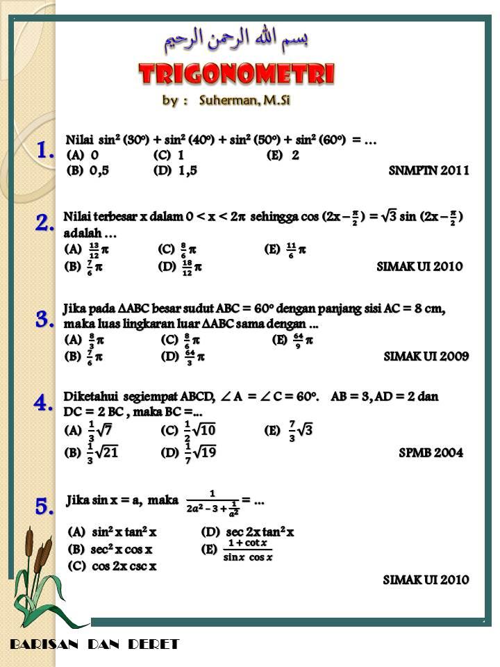 Soal Trigonometri 1 1000 Soal Matematika Uan Snmptn Simak Ui