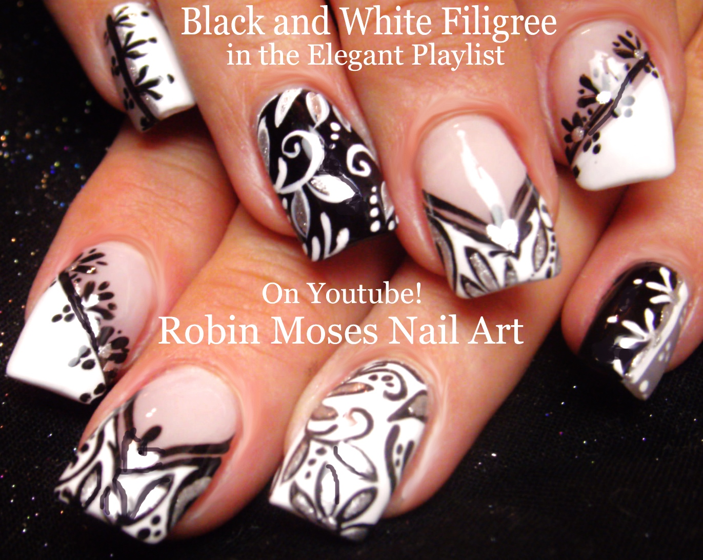Elegant black and silver nail art black and silver ombre nail art elegant black and silver nail art robin moses nail art black and white quot nails prinsesfo Choice Image