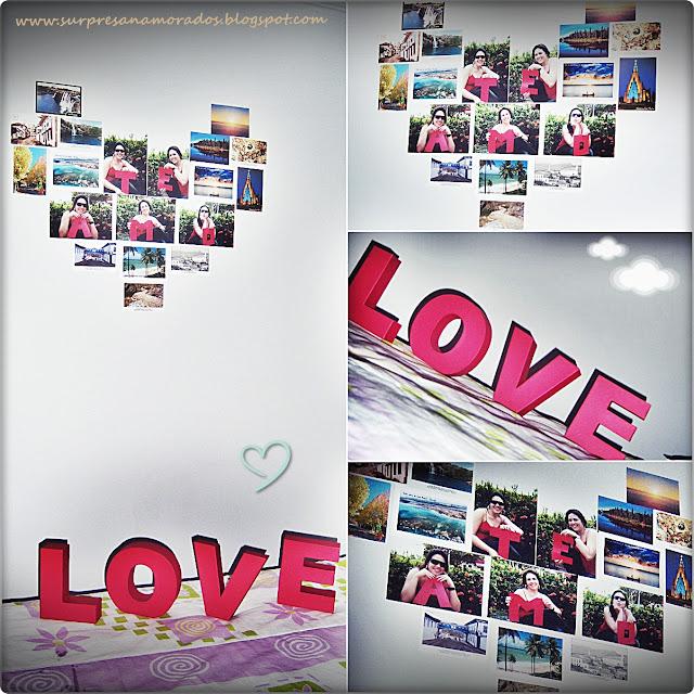 Coração de Fotos na Parede do meu Quarto Surpresas para  ~ Surpresa No Quarto Do Meu Namorado