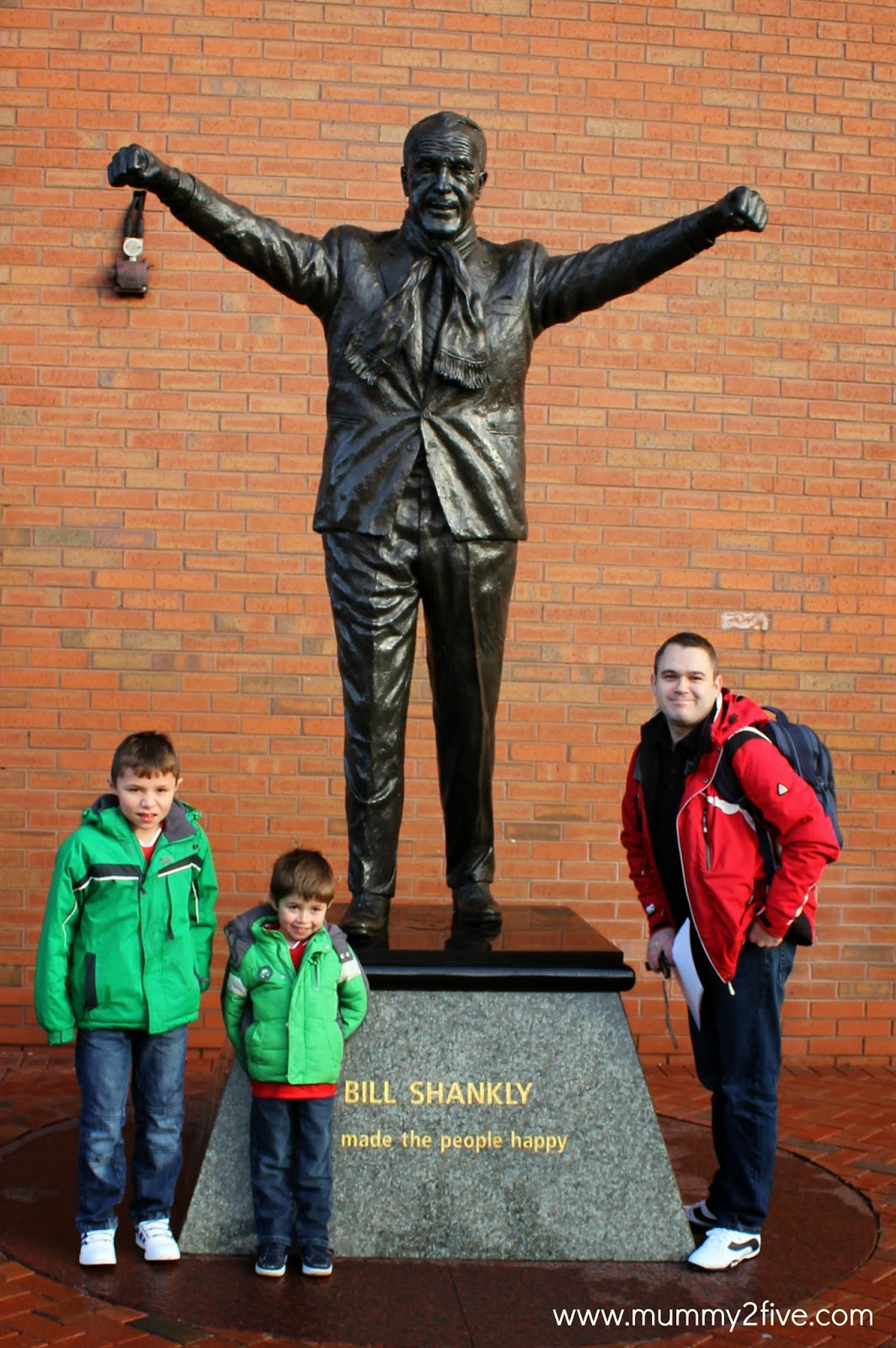 Bronze Bill Shankly statue at Liverpool Football Club Anfield