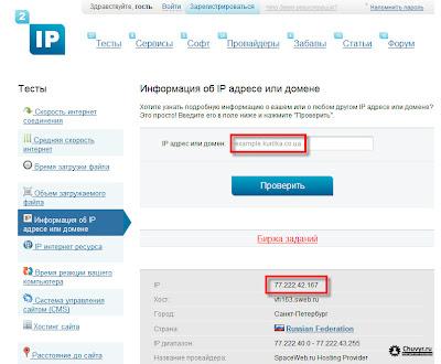 Информация об IP адресе или домене
