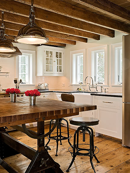 The Drafting Table Island. Such A Sweet Idea. The Vibe Is Just Perfect In  This Rustic, Farmhouse Kitchen. They Even Incorporated A Variety Of Old  School ...