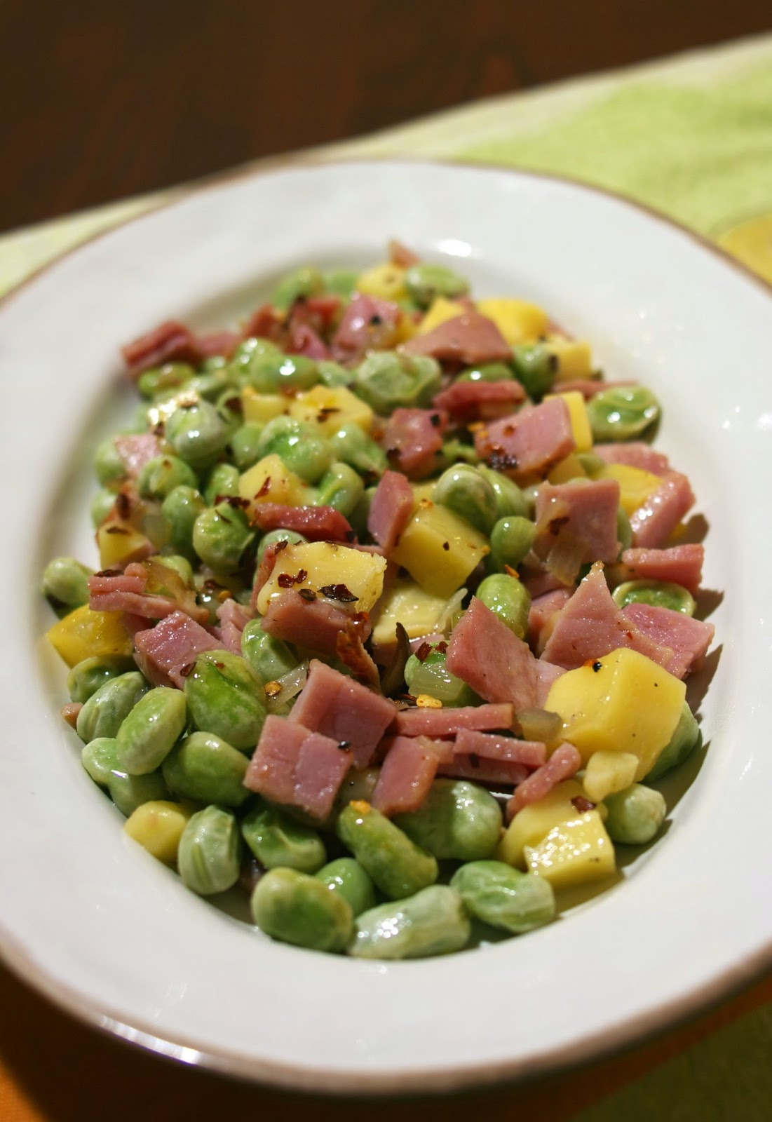 Yunnan Ham w/ Broad Beans & Goat Cheese- simplelivingeating.com
