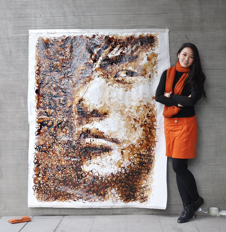 Amazing  Jay Chou Portrait  Painted Using Coffee Stains By Red Hong Yi