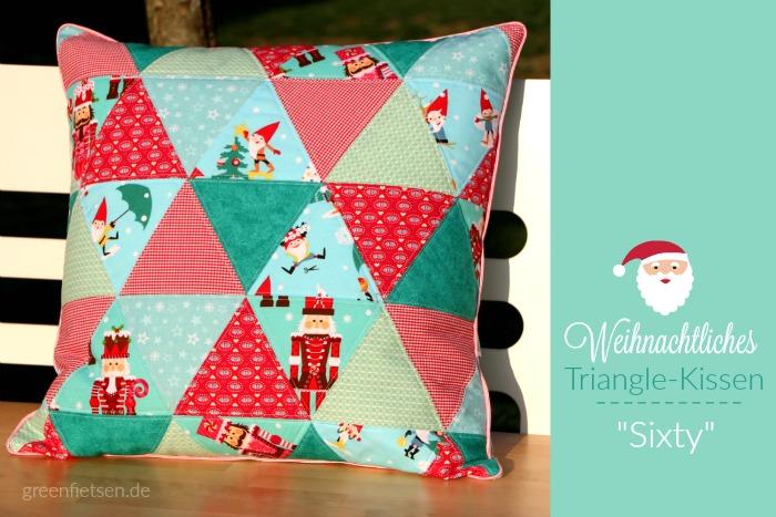 """Weihnachtliches Triangle-Kissen """"Sixty"""" mit Nussknacker und Zahnpasta-Paspel"""