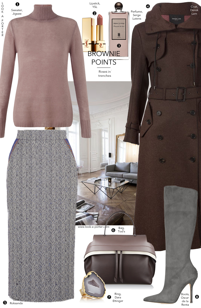 styling military coat with cashmere sweater and midi pencil skirt for an office workwear outfit via www.look-a-porter.com