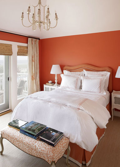 Color changes everything coral orange and shades in between - Burnt orange feature wall living room ...