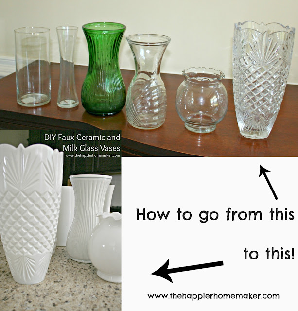 Diy white faux ceramic and milk glass vases the happier for Type of spray paint for glass