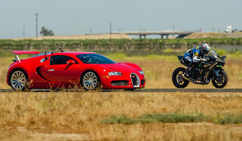 Kawasaki Ninja H2R ve Bugatti Veyron Drag Yarışı