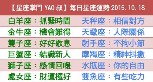 【星座掌門YAO叔】每日星座運勢2015.10.18