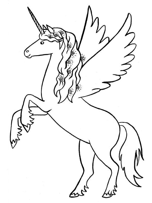 Disegni per bambini unicorno fare di una mosca - Unicorno alato pagine da colorare ...