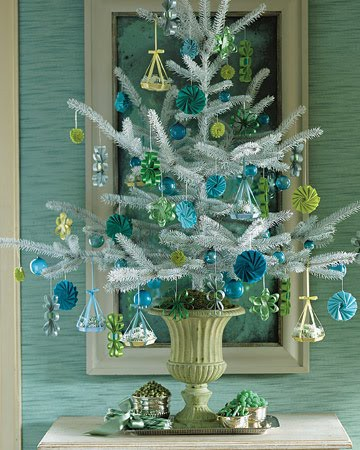 Modern blue and green Christmas tree