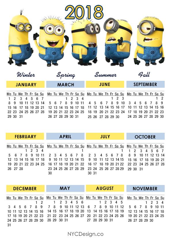 Calendar Kids 2018 : New york web design studio ny minions calendar