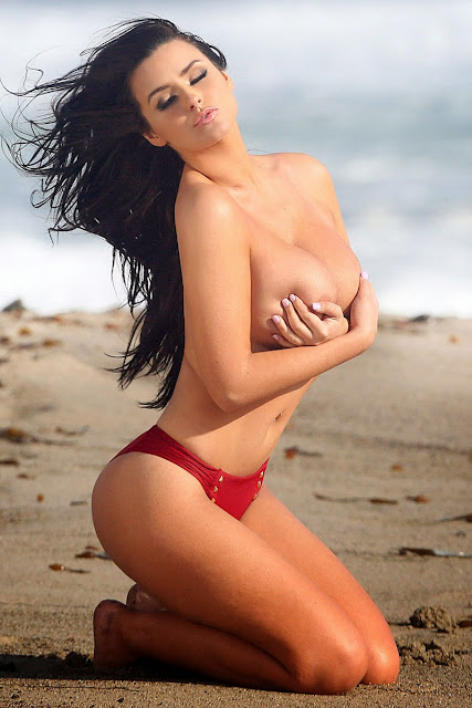 Abigail Ratchford Covered Topless Bikini Shoot in Malibu indianudesi.com