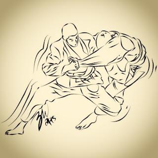 Foto kartun lineart brazilian jiu-jitsu