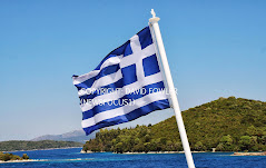 Greek flag on a ferry to Meganissi