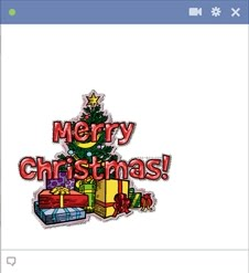Merry Christmas Emoticon With Christmas Tree And Presents
