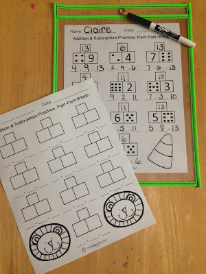 Addition and Subtraction Worksheets for Math Centers