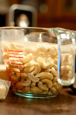 Cashews soaking for faux-cheese sauce