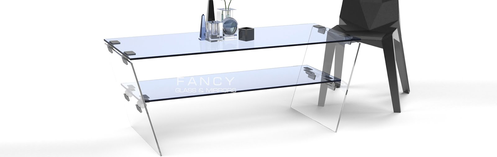 Rectangular coffee table with v shaped base
