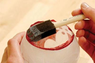طريقة شمعدان بسيط الديكوباج الزجاج