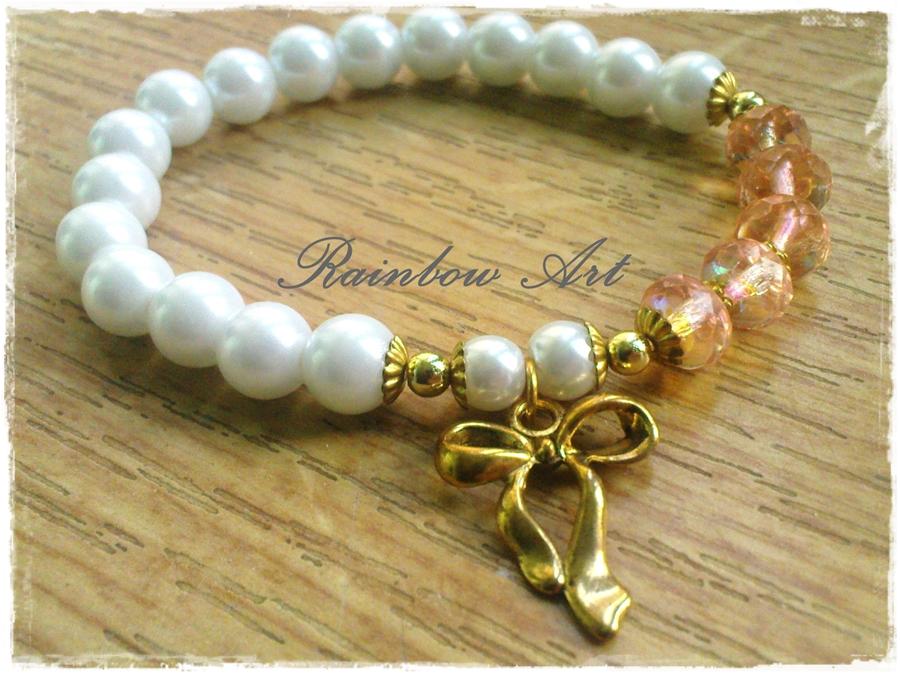Perłowo-złota bransoletka