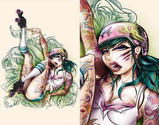 Tatuagens femininas em ilustrações sexy - 08