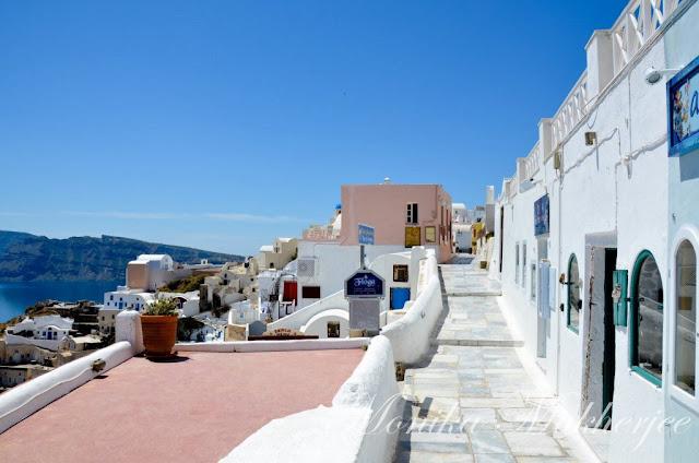 Oia in Santorini Greece by Monika Mukherjee