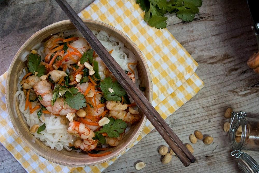 Langostinos thai con fideos de arroz for Cocinar fideos de arroz