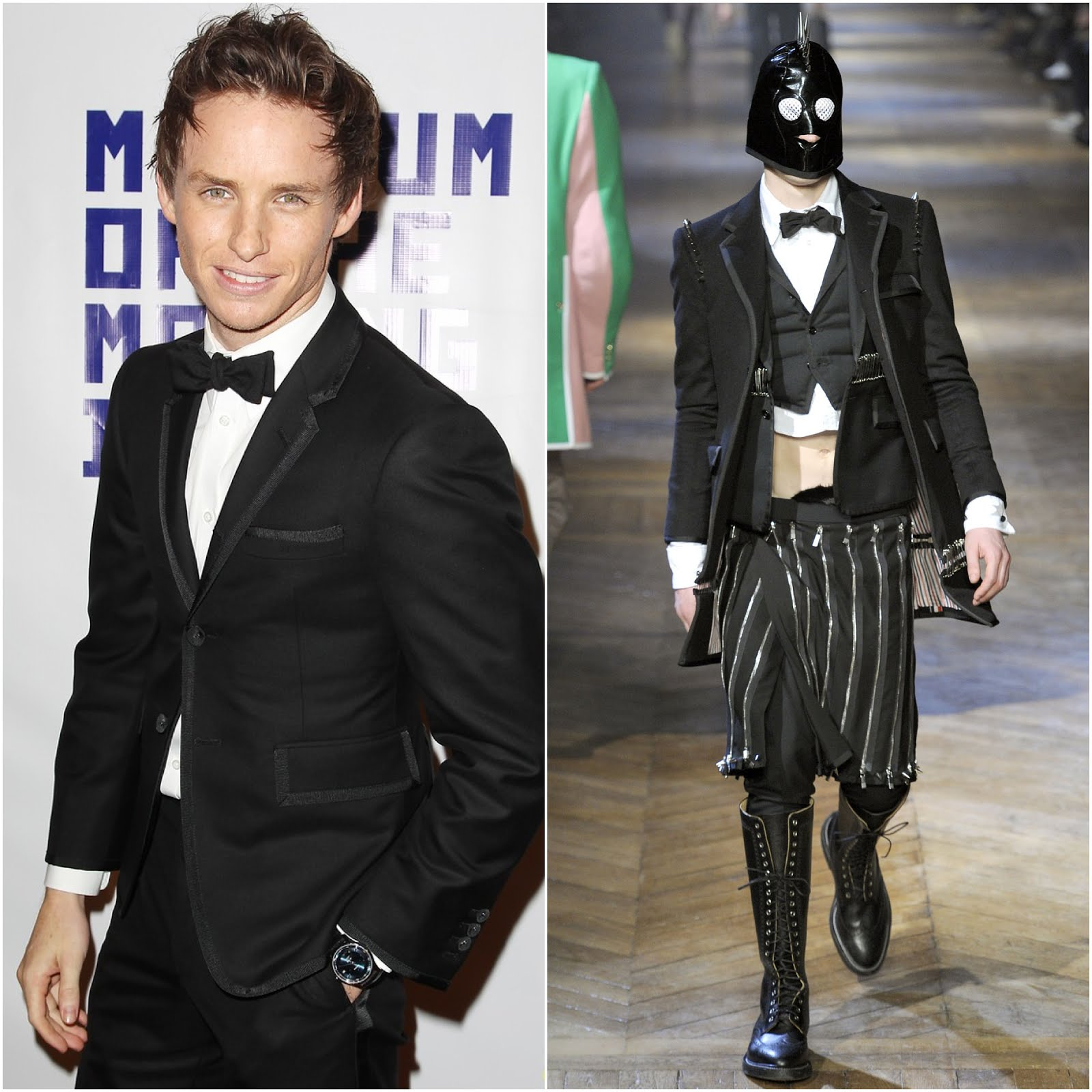 00O00 London Menswear Blog Eddie Redmayne in Thom Browne -  Museum of Moving Images salute to Hugh Jackman