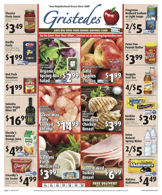 CHECK OUT ROOSEVELT ISLAND GRISTEDES Products, SALES & SPECIALS For September 14 - September 20