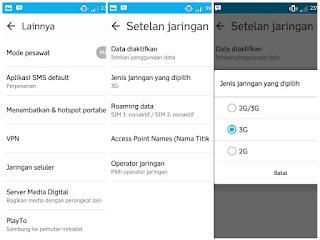 Pilih mode 3G
