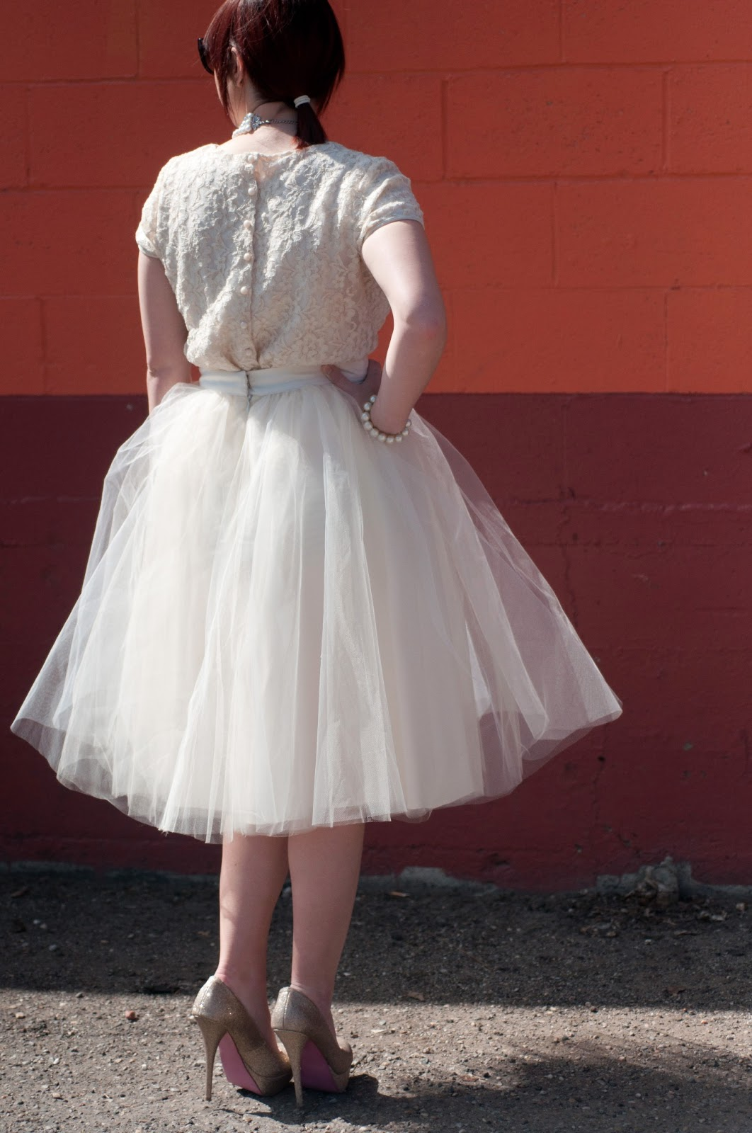 wedding dinner, wedding wear, wedding attire, nordstrom, h and m, h and m shirt, lace, shirt with buttons on the back, alexander grecco tulle, alexander grecco, tulle, tutu, womens tulle, white tulle, cream tulle, cream tutu, white tut, steve madden, sparkle shoes, heels, stilettos, steven madden stilettos, prada, prada sunglasses, black sunglasses, prada cat eye sunglasses, cat eye, cat eye sunglasses, pearls, thailand, pearl necklace, pearl braclett, mens style, womens style, mens fashion, womens fashion, fashion blogger, utah blogger, utah fashion, mormon fashion, mormon fashion blogger, style, fashion, button down shirt, buttons on back of shirt, color block, 2 tone, two tone, classy, audrey Hepburn inspiration, pearls and diamonds, pink soles,
