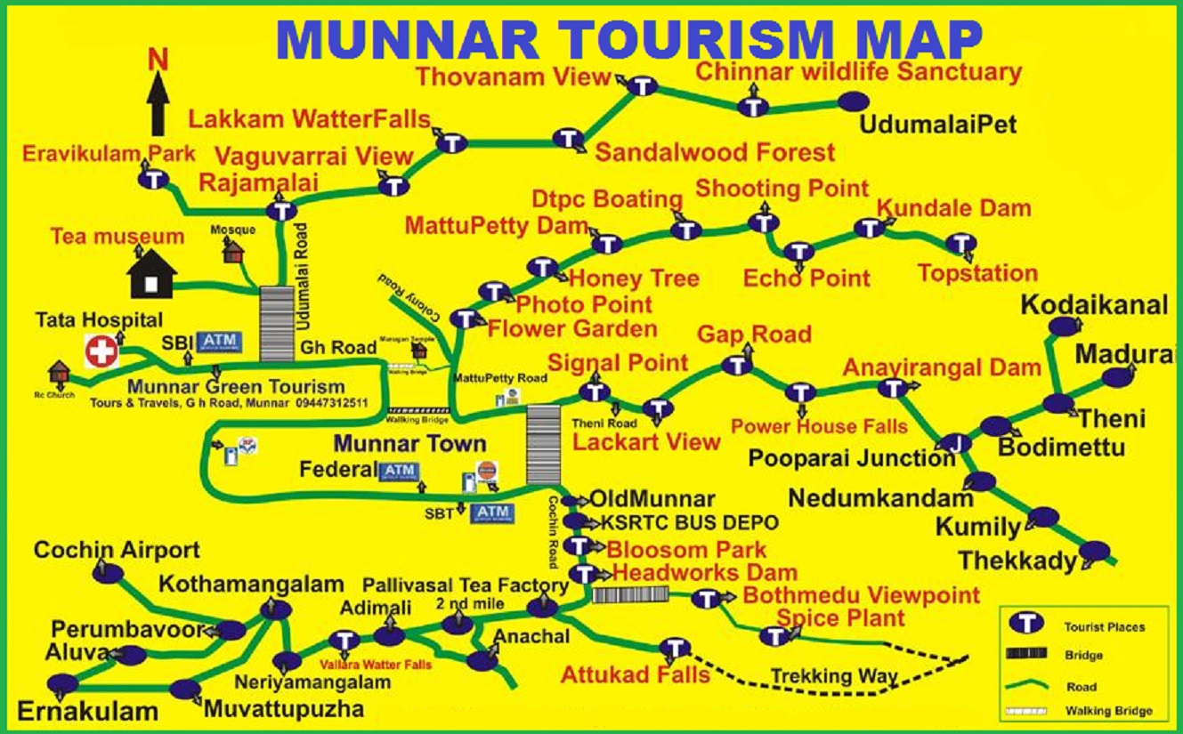 MUNNAR TOURIST MAP TOURIST ATTRACTIONS IN MUNNAR ATTRACTIONS – Kerala Tourist Map