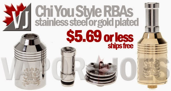 Chi You Styled Rebuildable Drippers, Stainless Steel or Gold Plated